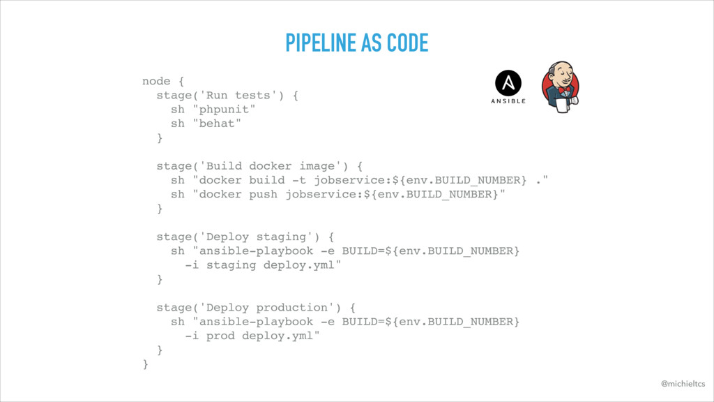 PIPELINE AS CODE node { stage('Run tests') { ...