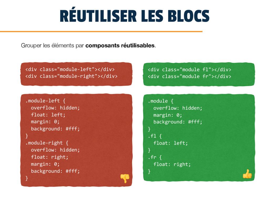 """RÉUTILISER LES BLOCS <div class=""""module-left""""><..."""