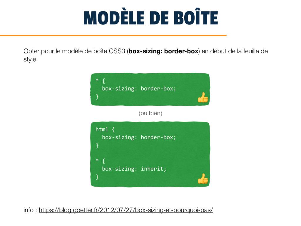 MODÈLE DE BOÎTE Opter pour le modèle de boîte C...
