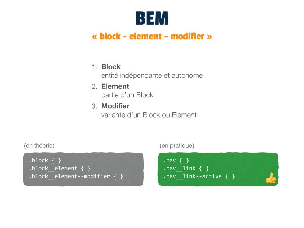 BEM « block - element - modifier » 1. Block en...