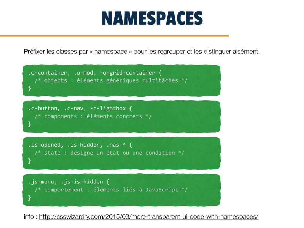 NAMESPACES Préfixer les classes par « namespace ...