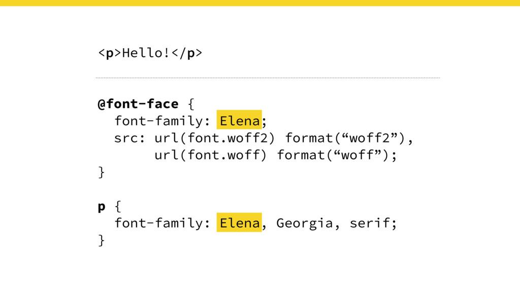 <p>Hello!</p> @font-face { font-family: Elena; ...