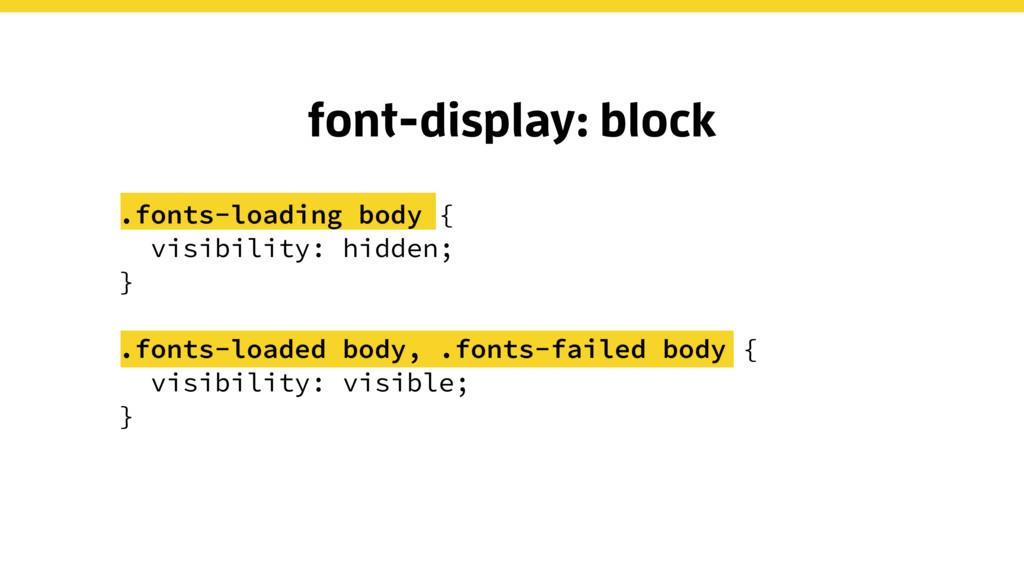 font-display: block .fonts-loading body { visib...