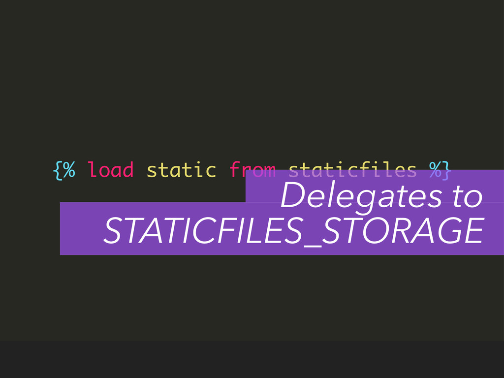 {% load static from staticfiles %} Delegates to...