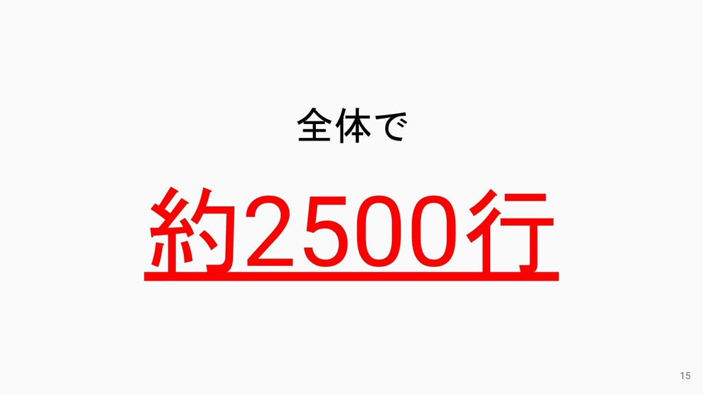 15 全体で 約2500行