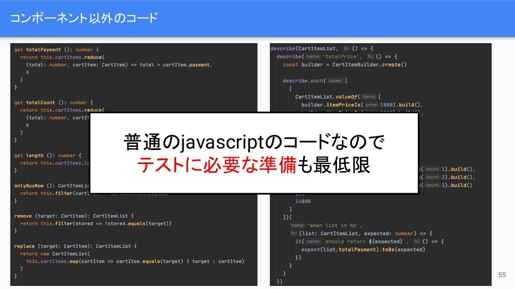 コンポーネント以外のコード 55 普通のjavascriptのコードなので テストに必要な準備...