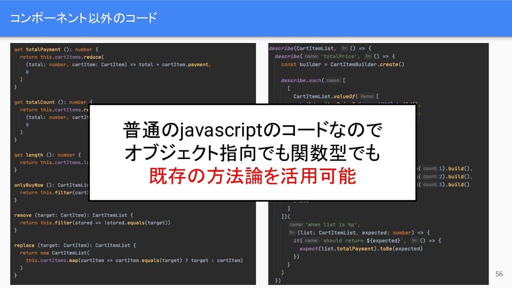 コンポーネント以外のコード 56 普通のjavascriptのコードなので オブジェクト指向で...