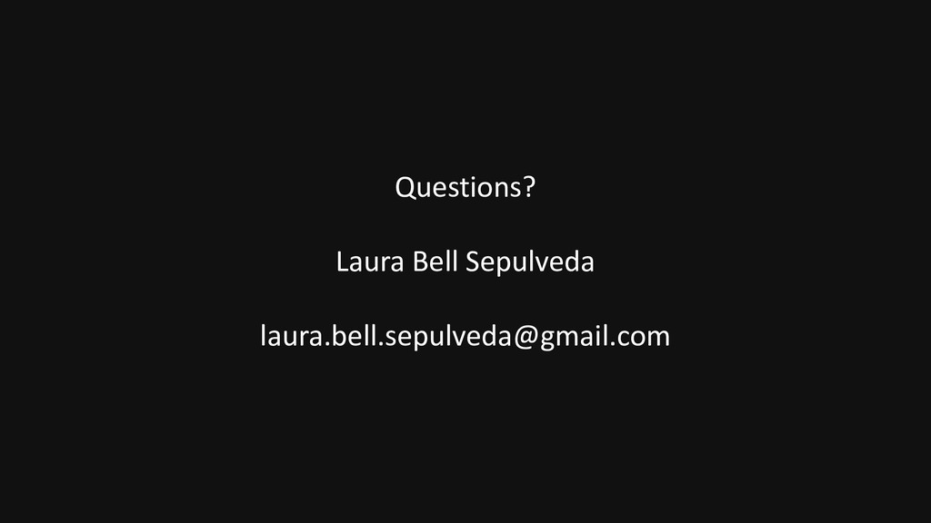 Questions? Laura Bell Sepulveda laura.bell.sepu...