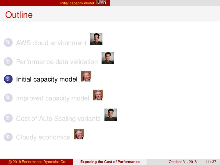 Initial capacity model Outline 1 AWS cloud envi...