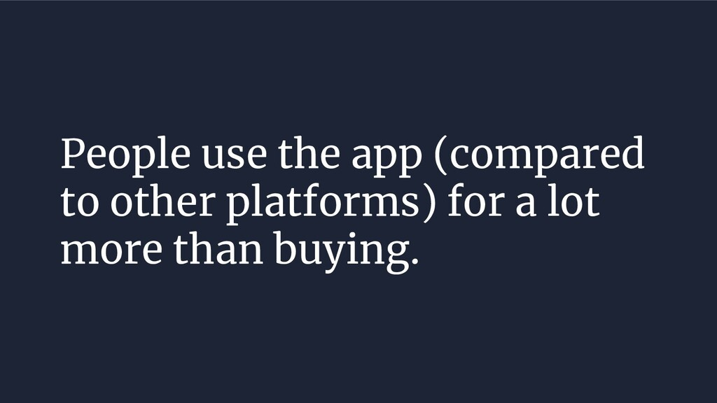 People use the app (compared to other platforms...