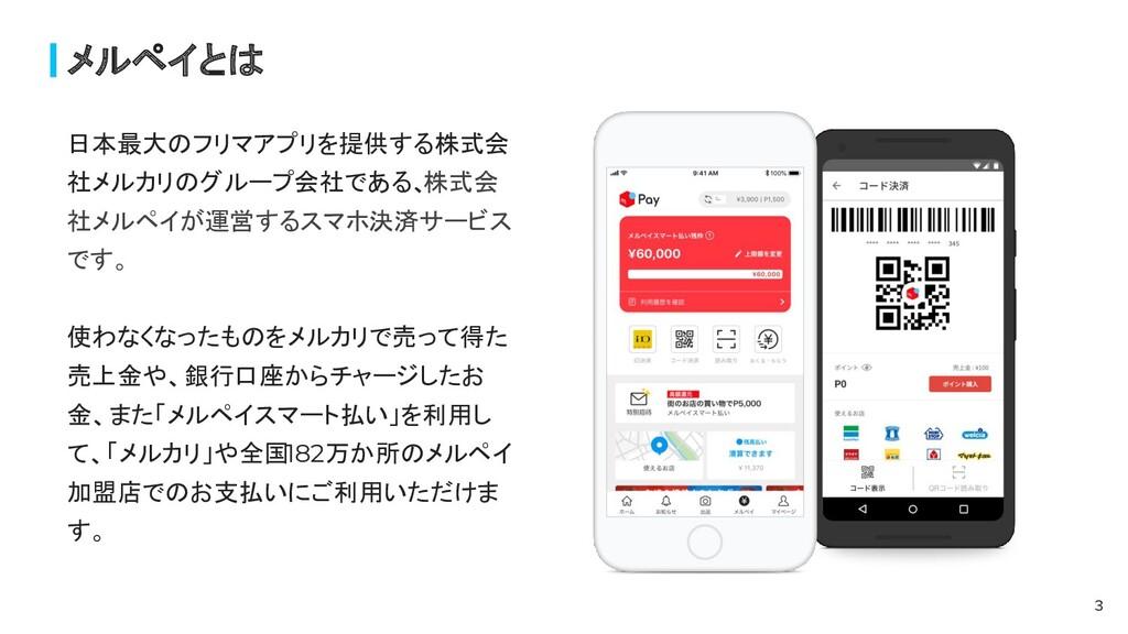 メルペイとは 3 日本最大のフリマアプリを提供する株式会 社メルカリのグループ会社である、 株...