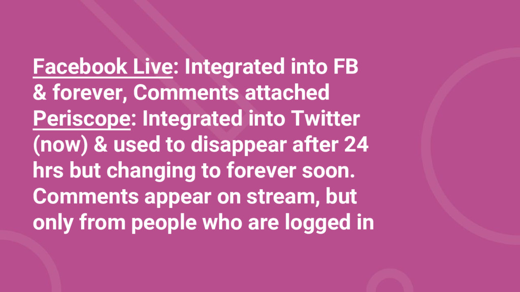 Facebook Live: Integrated into FB & forever, Co...