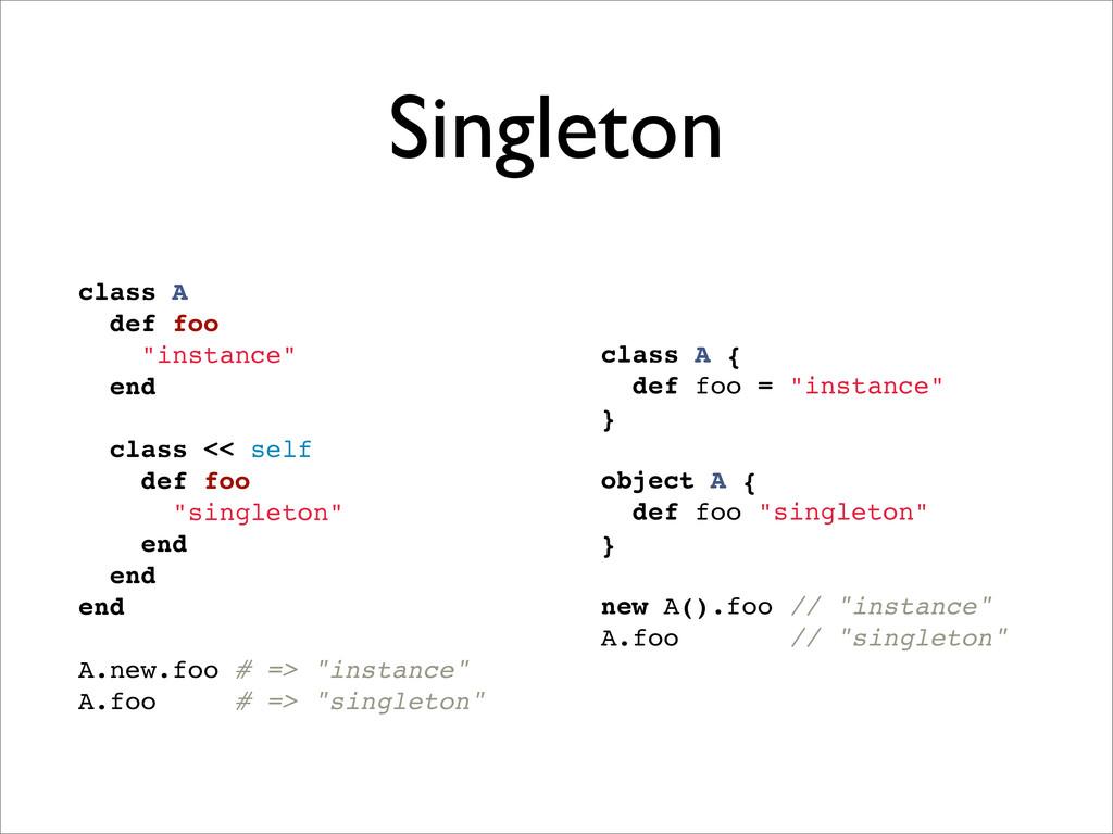 """Singleton class A { def foo = """"instance"""" } obje..."""
