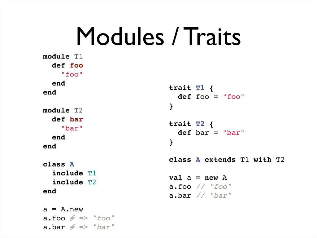 "Modules / Traits trait T1 { def foo = ""foo"" } t..."