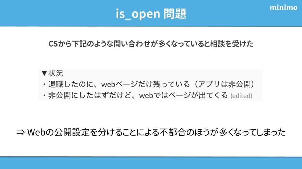 is_open 問題 CSから下記のような問い合わせが多くなっていると相談を受けた ⇒ Web...