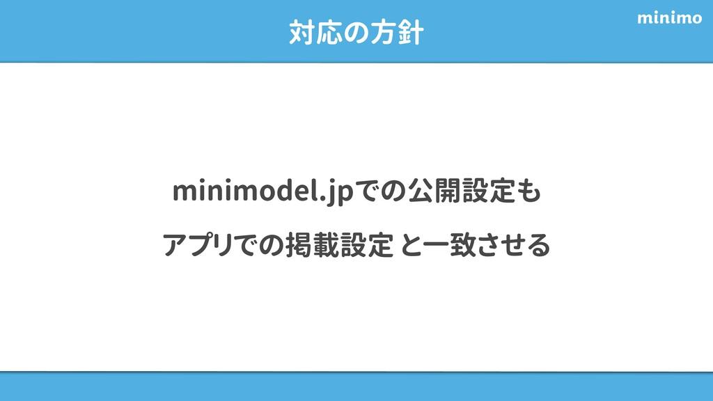 対応の方針 minimodel.jpでの公開設定も アプリでの掲載設定 と一致させる