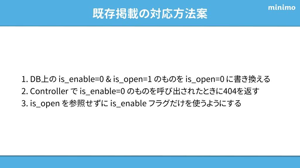 既存掲載の対応方法案 1. DB上の is_enable=0 & is_open=1 のものを...