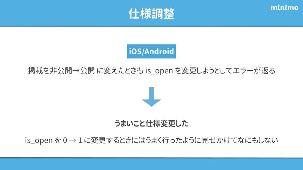 仕様調整 サロンツール うまいこと仕様変更した Android is_open を 0 → 1...