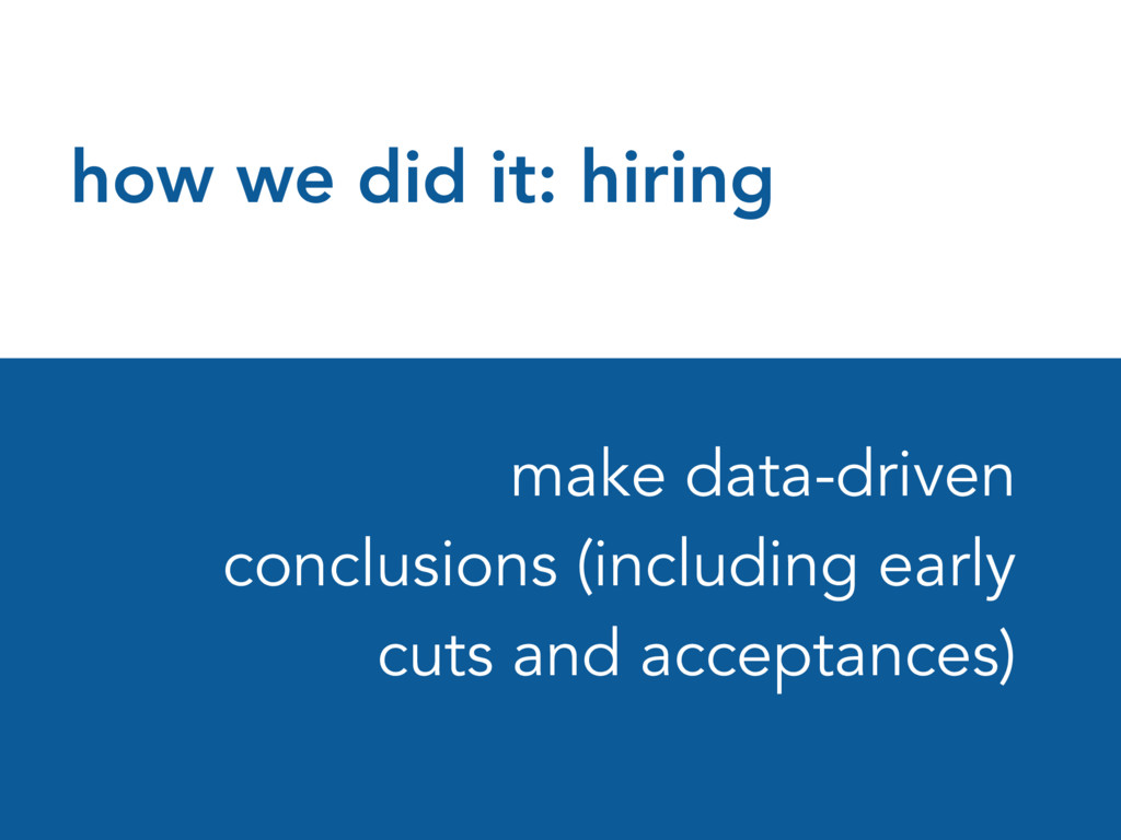 how we did it: hiring make data-driven conclusi...