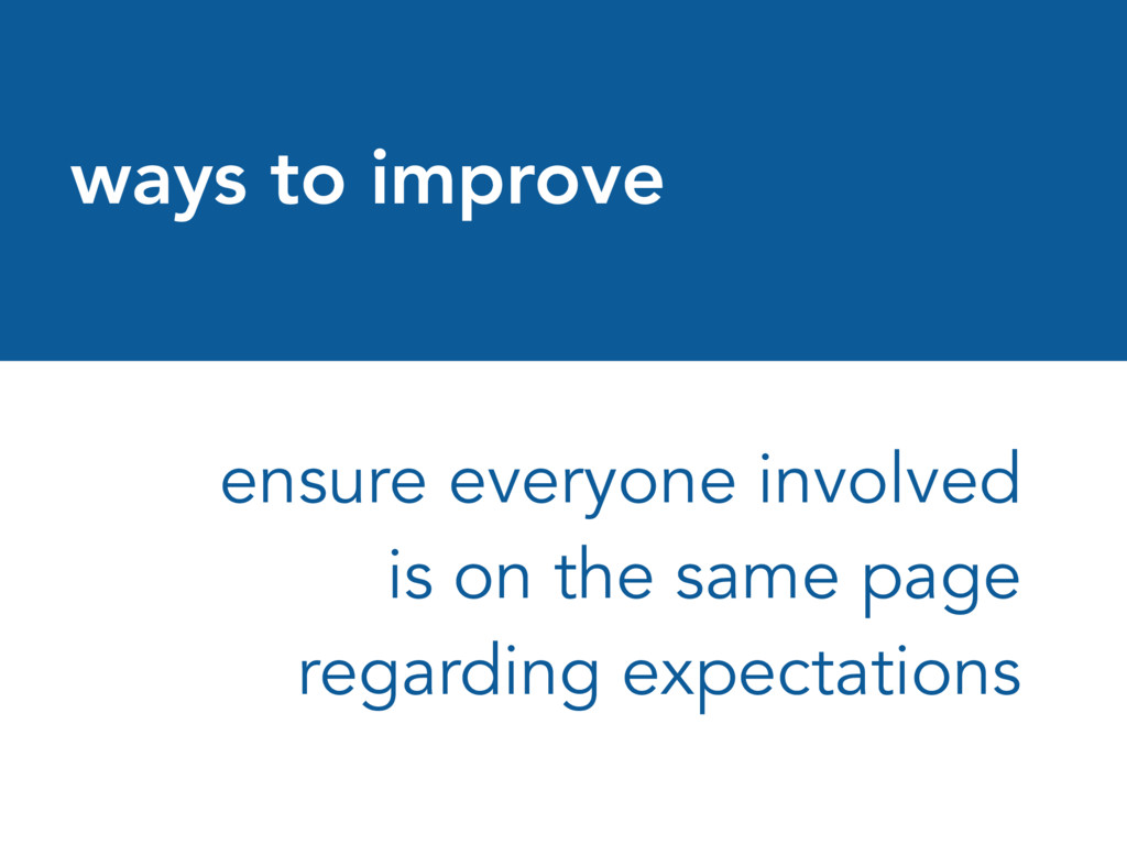 ways to improve ensure everyone involved is on ...