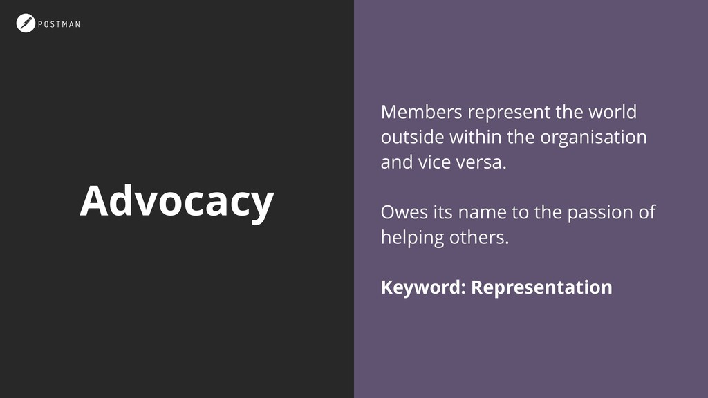 Advocacy Members represent the world outside wi...