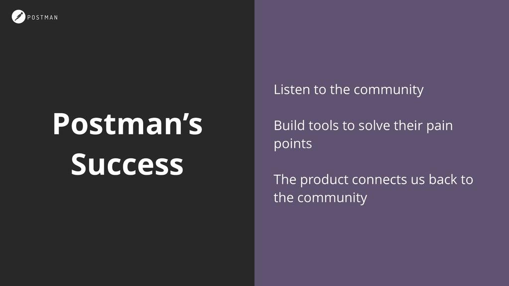 Postman's Success Listen to the community Build...