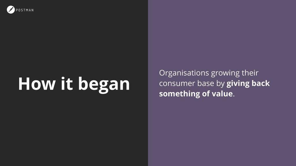 How it began Organisations growing their consum...