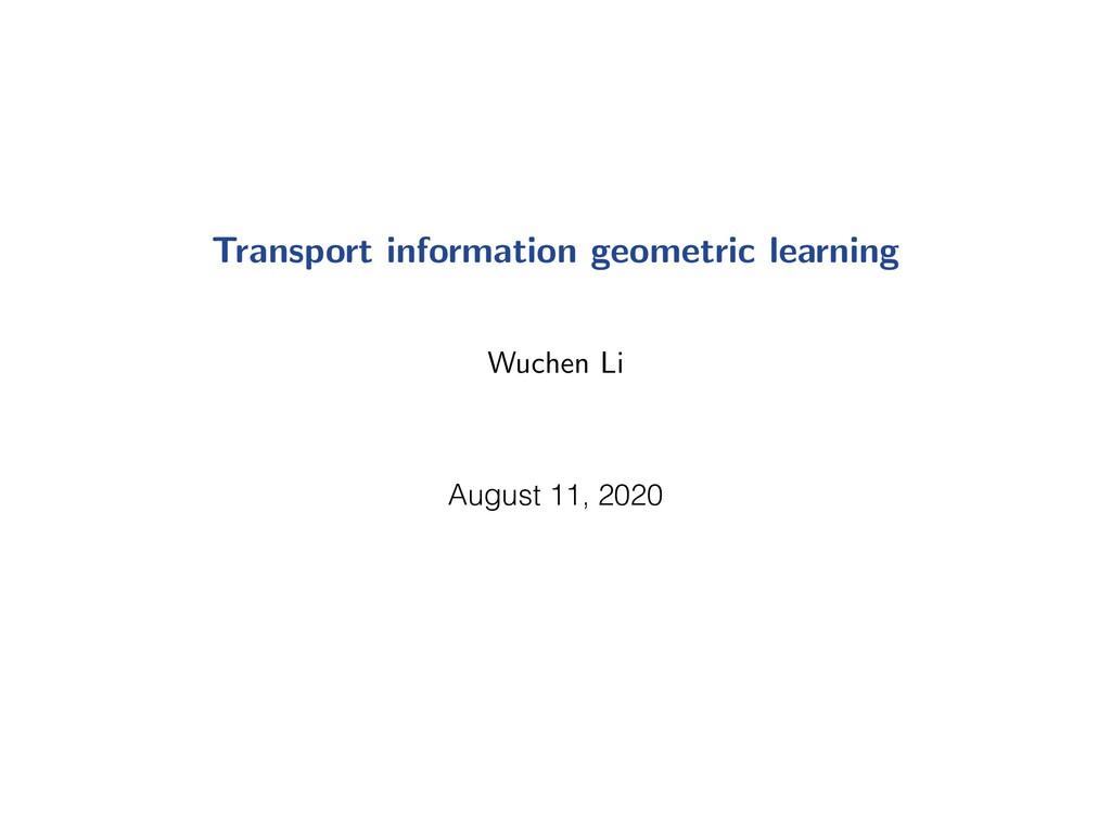 Transport information geometric learning Wuchen...