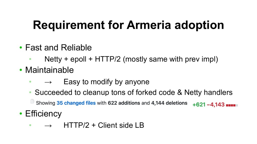 Requirement for Armeria adoption • Fast and Rel...
