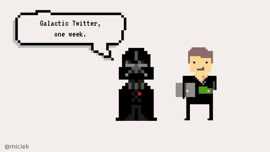 @miciek Galactic Twitter, one week.