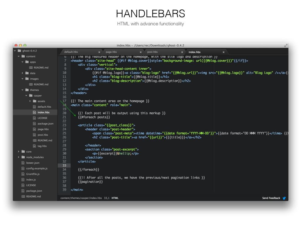 HANDLEBARS HTML with advance functionality