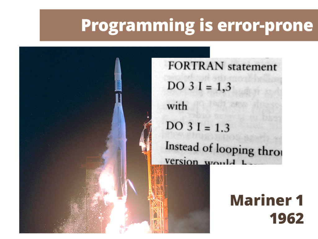 Programming is error-prone Mariner 1 1962