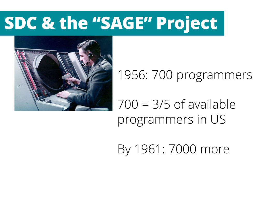 1956: 700 programmers 700 = 3/5 of available pr...