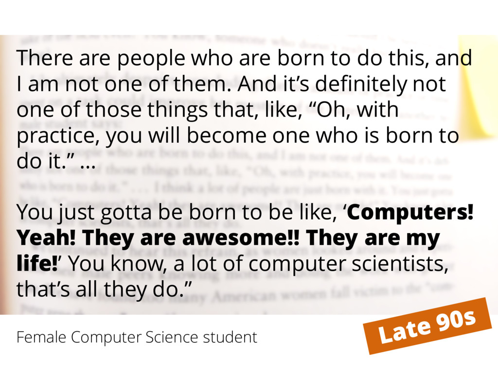 Female Computer Science student There are peopl...