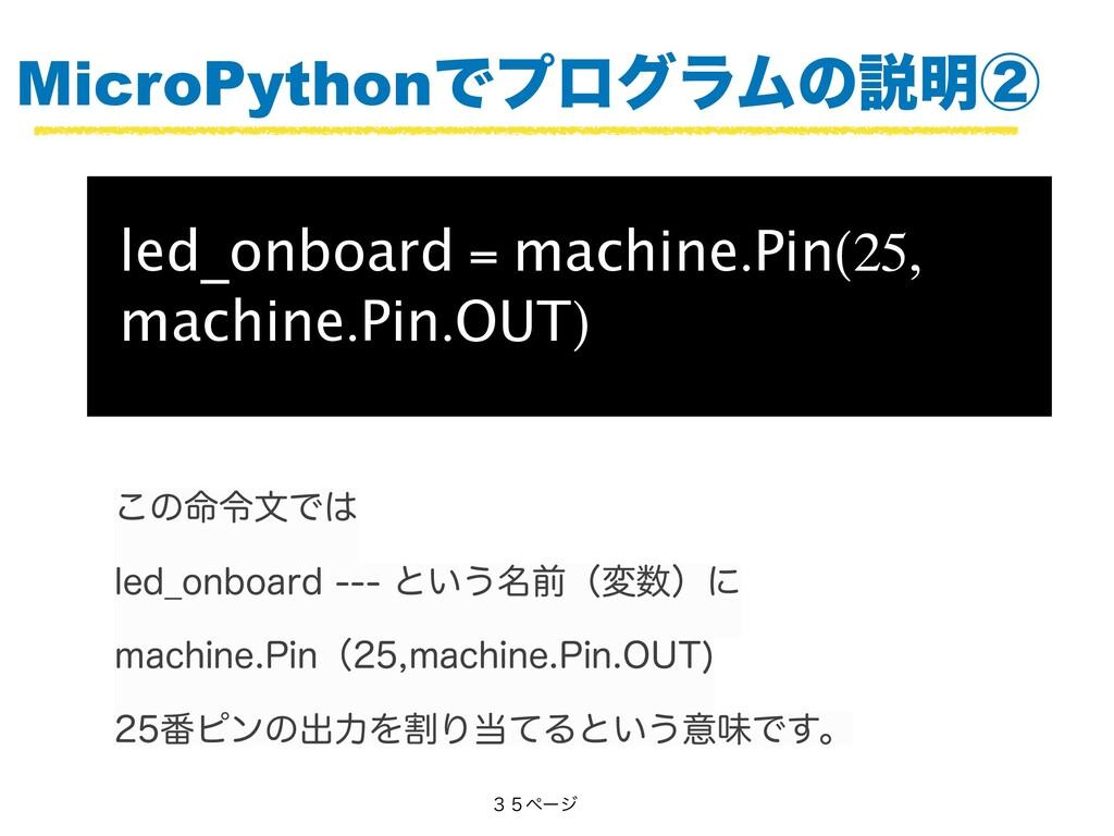 MicroPythonͰϓϩάϥϜͷઆ໌ᶄ led_onboard = machine.Pin...