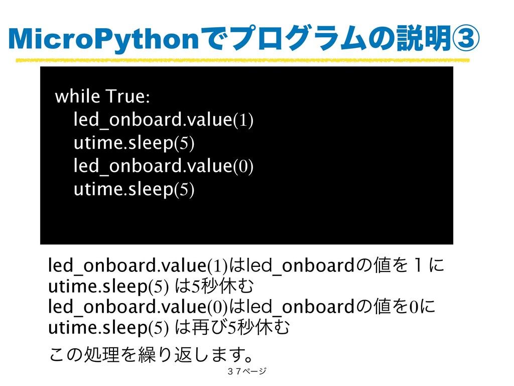 MicroPythonͰϓϩάϥϜͷઆ໌ᶅ while True: led_onboard.v...