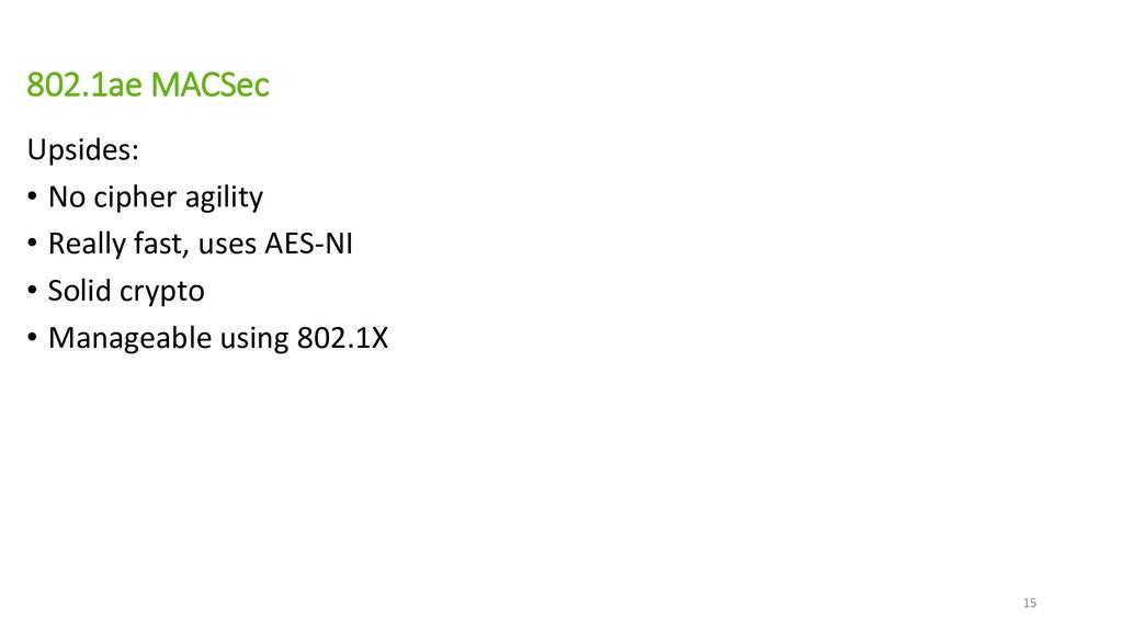 802.1ae MACSec Upsides: • No cipher agility • R...