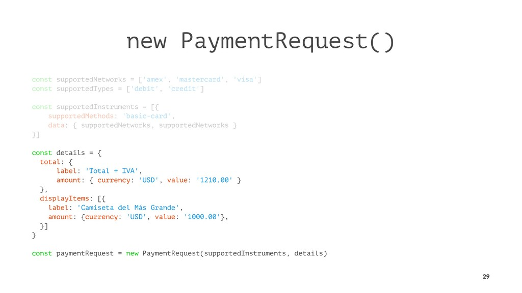new PaymentRequest() const supportedNetworks = ...