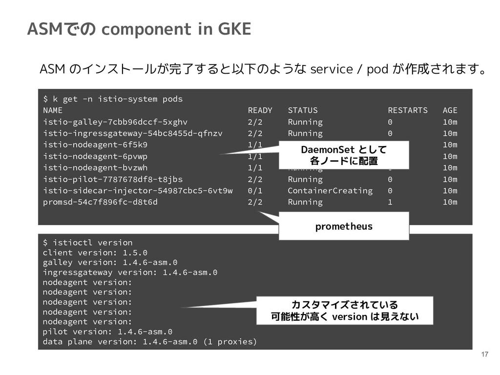 ASMでの component in GKE 17  ASM のインストールが完了すると以下の...