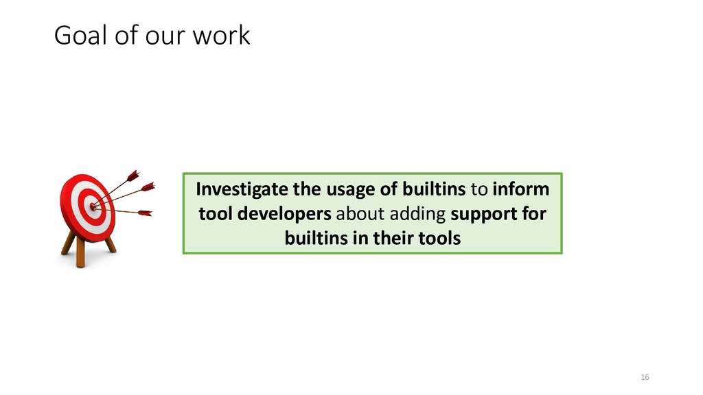 Goal of our work Investigate the usage of built...