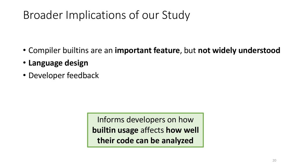 Broader Implications of our Study • Compiler bu...