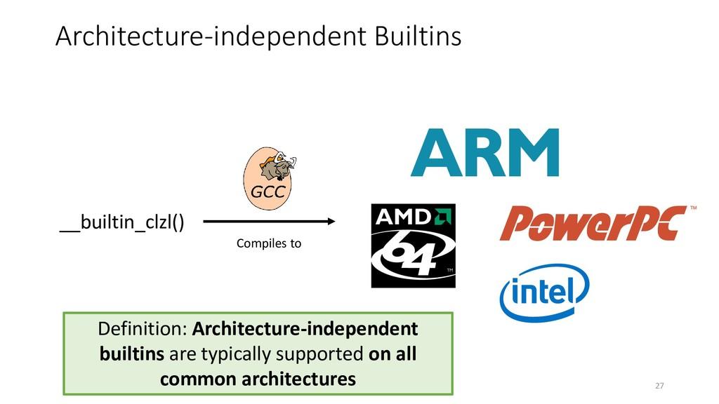 Architecture-independent Builtins __builtin_clz...
