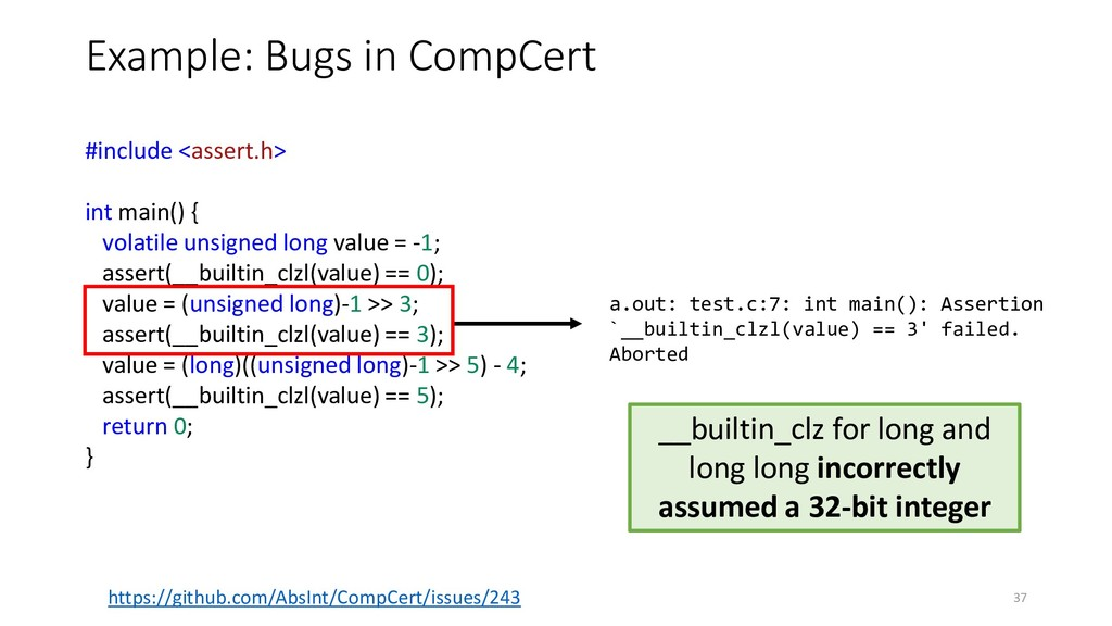Example: Bugs in CompCert https://github.com/Ab...