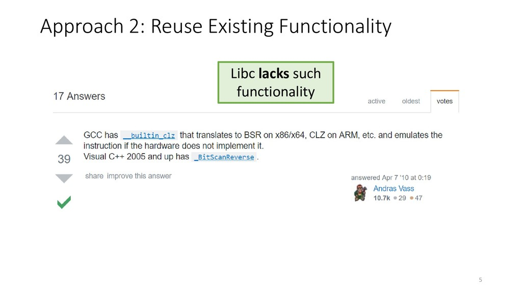 Libc lacks such functionality Approach 2: Reuse...
