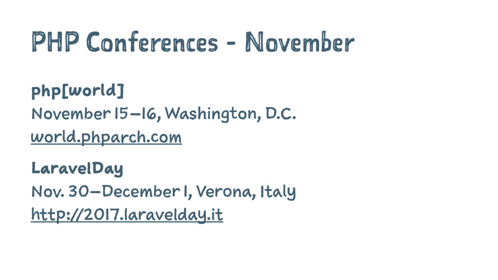 PHP Conferences - November php[world] November ...