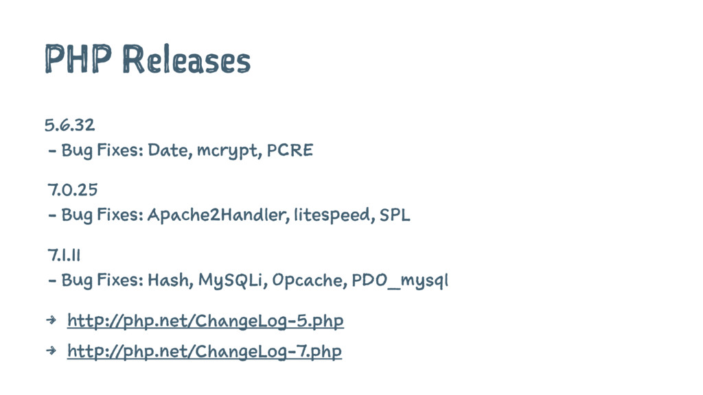 PHP Releases 5.6.32 - Bug Fixes: Date, mcrypt, ...