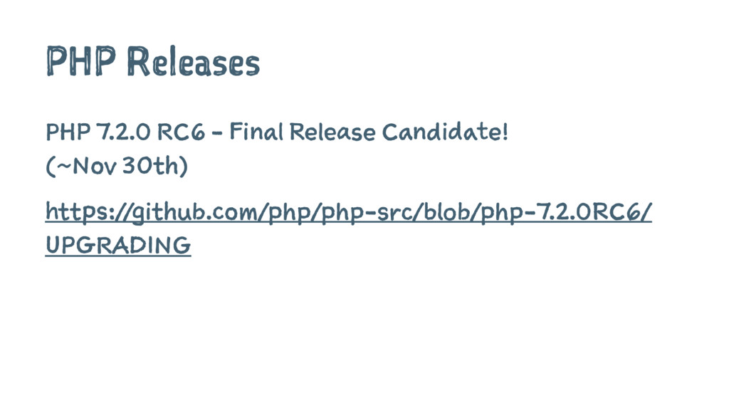 PHP Releases PHP 7.2.0 RC6 - Final Release Cand...