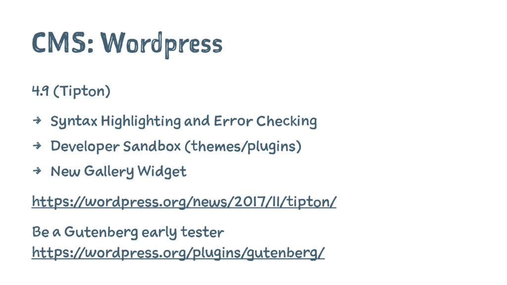 CMS: Wordpress 4.9 (Tipton) 4 Syntax Highlighti...
