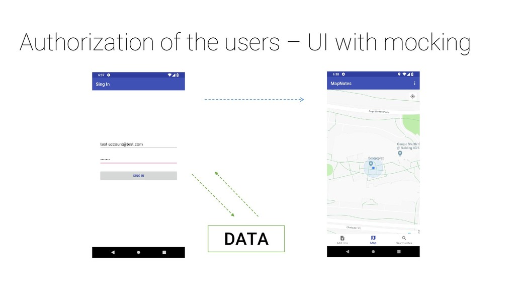 Authorization of the users – UI with mocking DA...