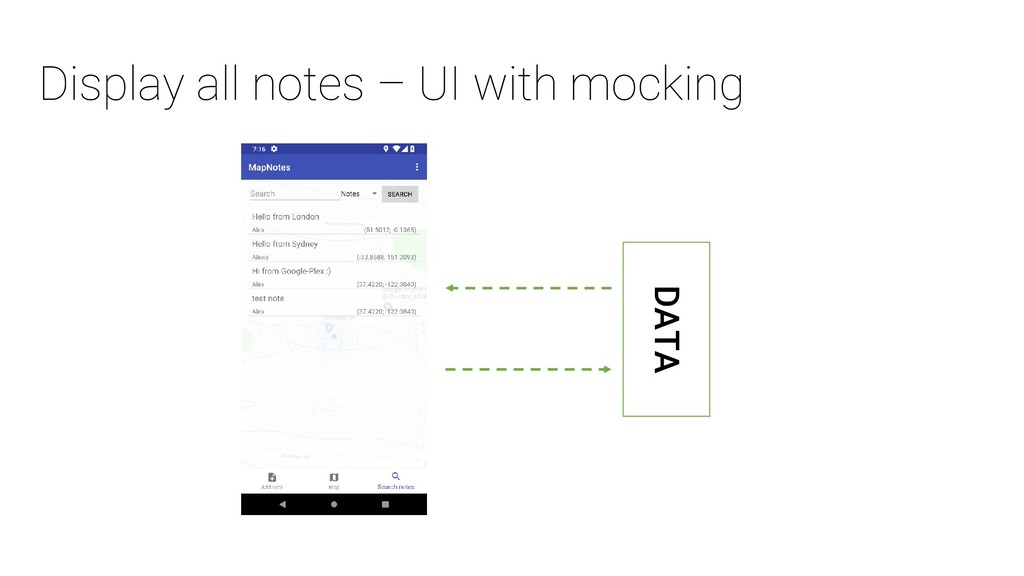 Display all notes – UI with mocking DATA